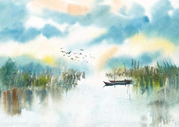 Kanal- und morgenlicht-aquarellfarbe