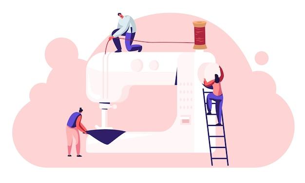 Kanalzeichen bei der herstellung von kleidungsstücken, schneiderinnen näherin arbeit an der nähmaschine im atelier oder in der stofffabrik, herstellung von industrieller textilbekleidung
