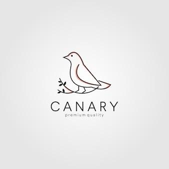Kanarienvogel der linie art auf wurzellogoikonenillustration
