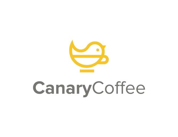 Kanarienvogel und kaffeetasse umriss einfaches schlankes kreatives geometrisches modernes logo-design