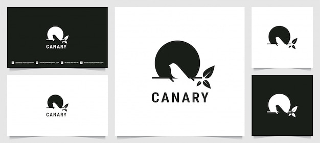 Kanarisches schattenbildlogo mit visitenkarte