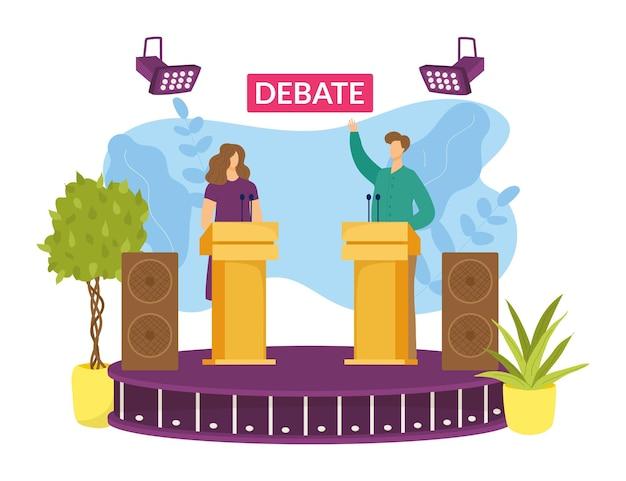 Kandidat bei der wahldebatte, vektorillustration. politischer sprechercharakter in der diskussion, flacher mannfrauenstand an der tribüne. politikerrede