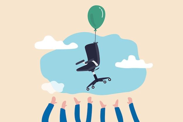 Kandidatenhand, die versucht, bürostuhl zu ergreifen, der mit ballon in der luft fliegt.