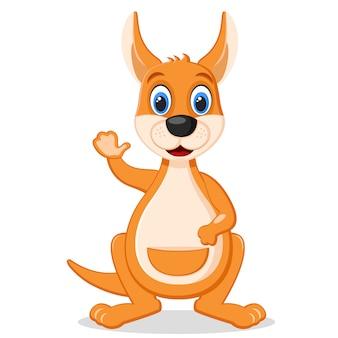 Kangaroo steht lächelnd da und winkt mit seiner pfote auf einem weißen.