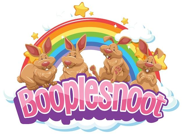 Kaninchen auf boople snoot-schrift mit regenbogen