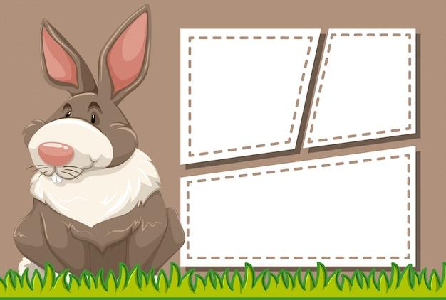 Kaninchen auf notizvorlage