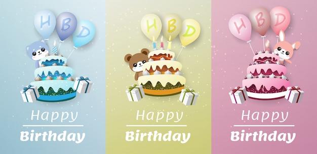 Kaninchen, bär und hund hinter einem kuchen. auf dem ballon befindet sich ein hbd-buchstabe und eine weiße hintergrundfahne schwebt aus dem kuchen.
