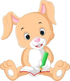 Kaninchen, das auf die buchkarikatur schreibt