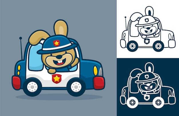 Kaninchen, das polizistenhut auf polizeiauto trägt. karikaturillustration im flachen ikonenstil