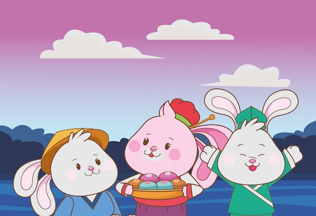 Kaninchen, die mittlere herbstfestivalkarikaturen feiern