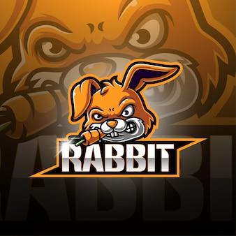 Kaninchen esport maskottchen logo