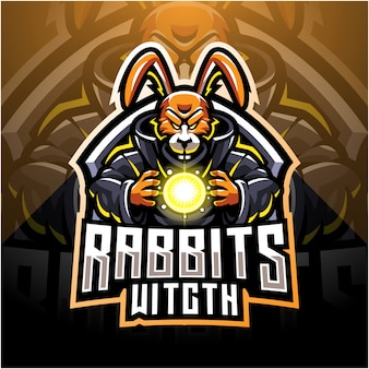 Kaninchen hexe esport maskottchen logo