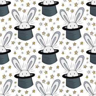 Kaninchen im hutmuster. nahtloser hintergrund des vektors für magischen zirkus. magier gekritzel sterne dekoration