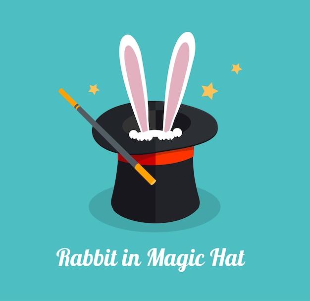 Kaninchen im magischen hut überraschungs- und magisches konzept