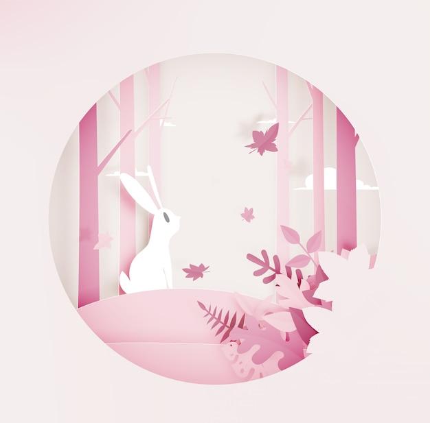 Kaninchen im wald mit papierkunstart und schöner pastellfarbe