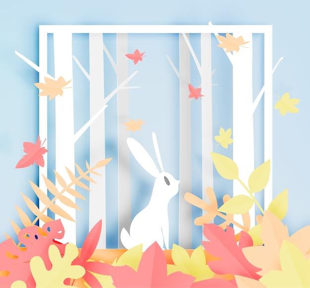 Kaninchen im wald mit papierkunstart