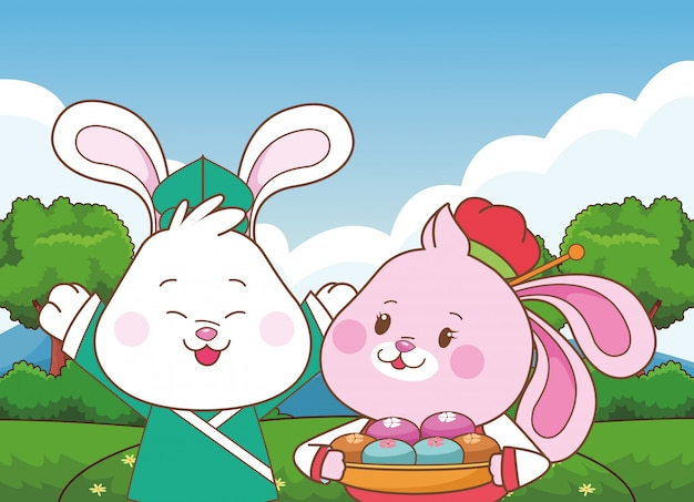 Kaninchen in den mittleren herbstfestivalkarikaturen