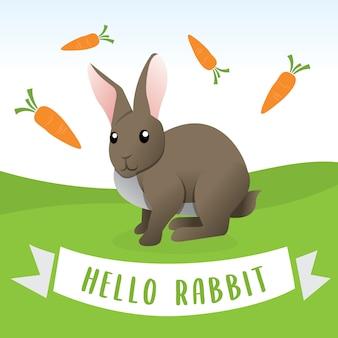 Kaninchen in der karikaturart, glückliches kaninchen der karikatur mit karotten. vector illustration des lustigen glücklichen tieres, nettes kaninchen der karikatur