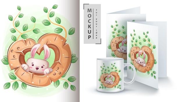 Kaninchen in einem loch merchandising