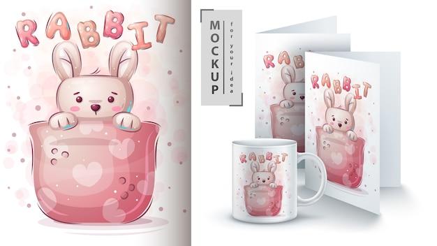 Kaninchen in tasse - plakat und merchandising