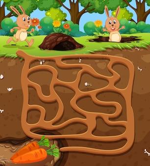 Kaninchen karotte labyrinth spiel finden