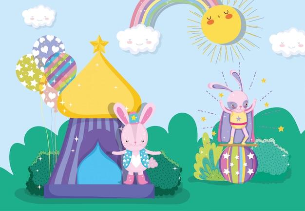 Kaninchen kostüm mit zirkus und ball