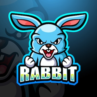 Kaninchen maskottchen esport illustration