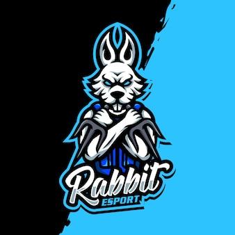 Kaninchen maskottchen logo esport gaming