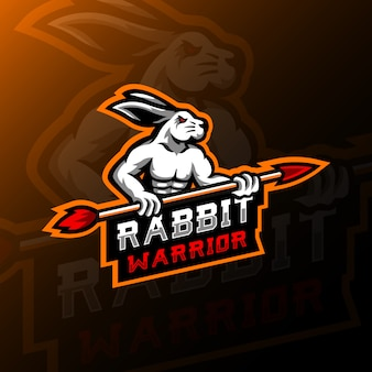 Kaninchen maskottchen logo esport illustration spiel.