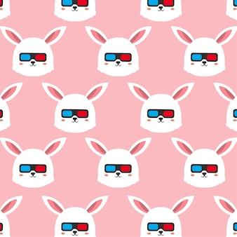 Kaninchen mit brille nahtlose muster-cartoon-illustration