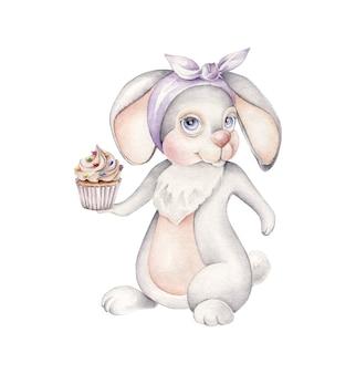 Kaninchen mit cupcake. süße bäckerei