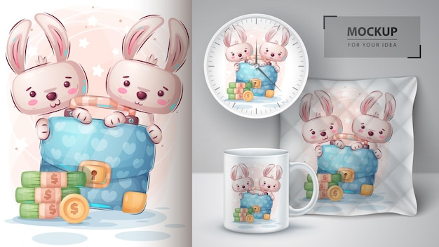 Kaninchen mit diplomatenillustration und merchandising