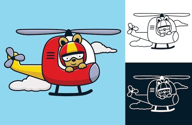 Kaninchen mit helm auf hubschrauber. vektorkarikaturillustration in der flachen ikonenart