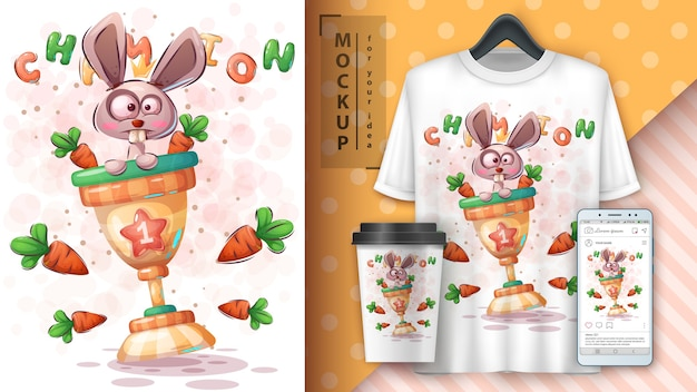 Kaninchen mit karottenplakat und merchandising
