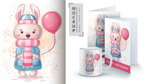 Kaninchen mit luftballonplakat und merchandising
