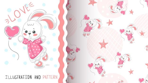 Kaninchen mit nahtlosem muster des herzens