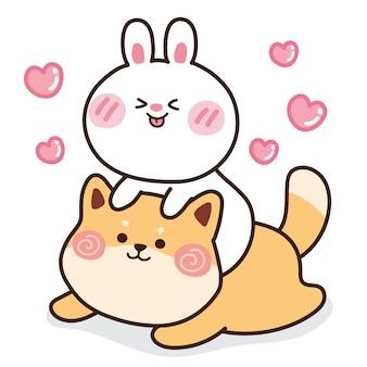 Kaninchen mit shiba inu hund mit herz.