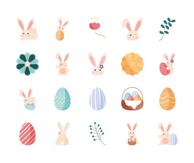 Kaninchen, ostereier und blumen gesetzt