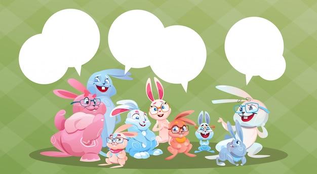 Kaninchen-osterferien-häschen-gruppen-chat-blasen-gruß-karte