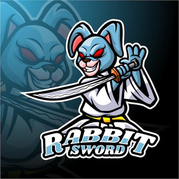 Kaninchen schwert esport logo maskottchen design