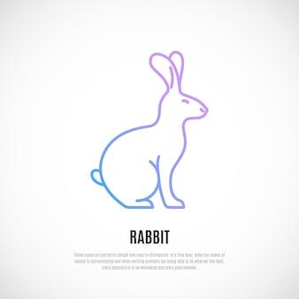 Kaninchen-silhouette auf weißem hintergrund