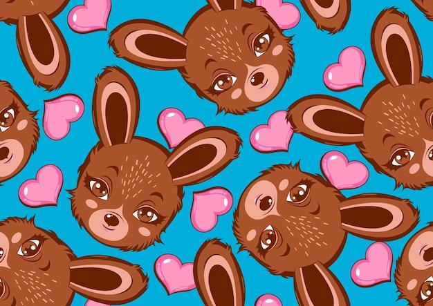 Kaninchen süßes nahtloses muster.