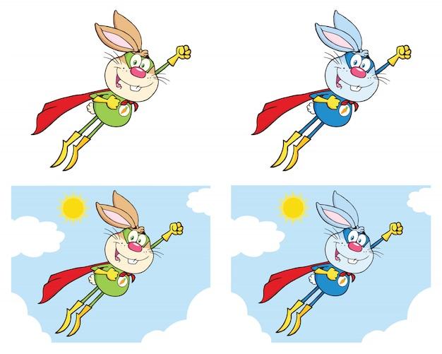 Kaninchen-superheld-karikatur-maskottchen-zeichensatz