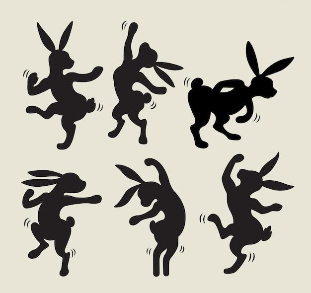 Kaninchen tanzen silhouette vektor