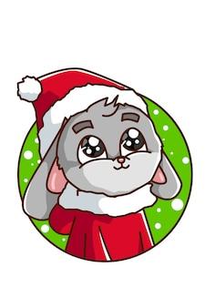 Kaninchen trägt ein weihnachtskostüm