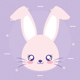 Kaninchen über einem lila hintergrundvektorillustrationsentwurf