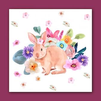 Kaninchen und blumen für design
