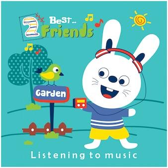 Kaninchen und freund, die musik in der lustigen tierkarikatur des gartens hören