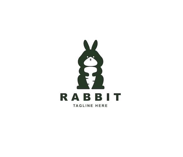 Kaninchen- und karotten-silhouette-logo-design