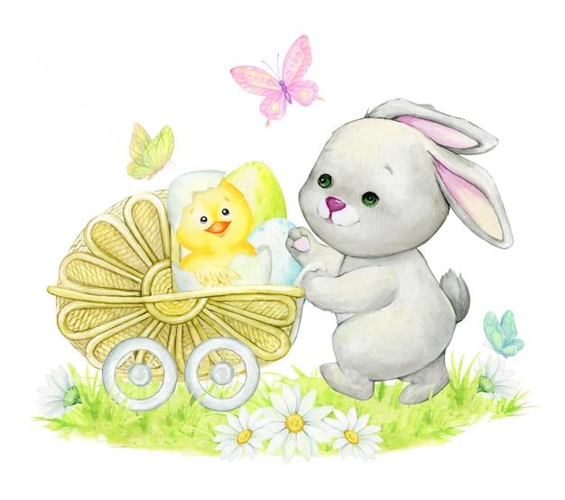 Kaninchen und osterdekoration im karikaturstildesign